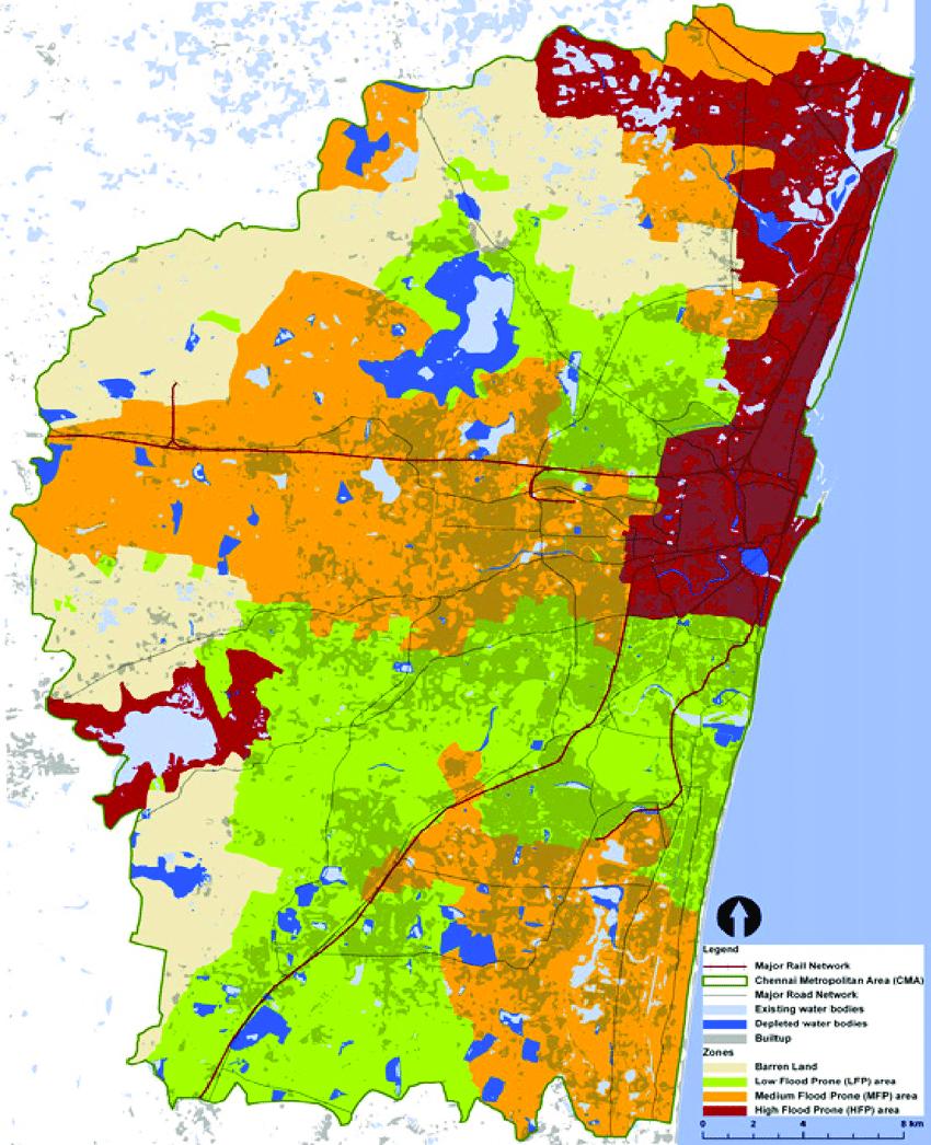 Chennai, India Flood Map: Elevation Map, Sea Level Rise Map