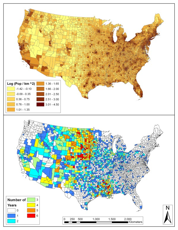 Mosquito Population By State Map : mosquito, population, state, Log-adjusted, Population, Density, (people, Counties, With..., Download, Scientific, Diagram