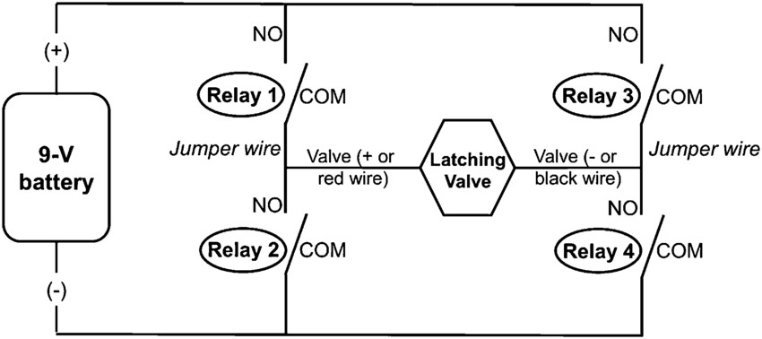 Electrical Diagram Of An H-bridge With Four Relays