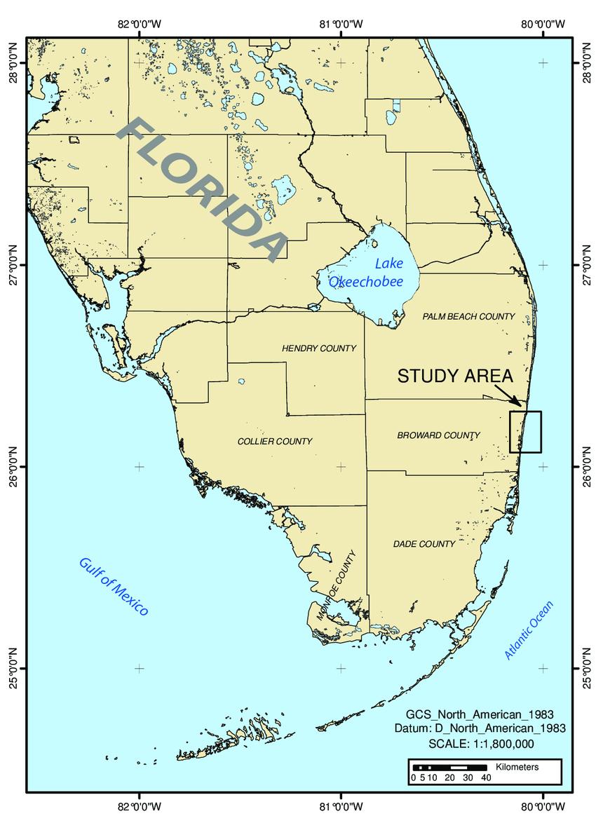 Map Of Broward County : broward, county, Location, Study, Broward, County,, Florida., Download, Scientific, Diagram