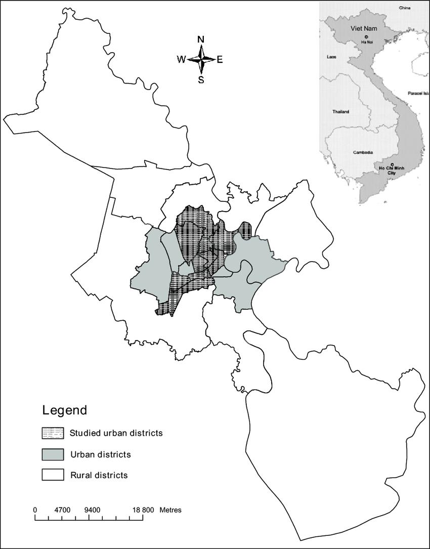 Map Of Hcmc : City,, Vietnam,, Studied, Districts., Download, Scientific, Diagram