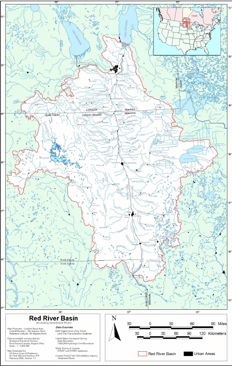 Red River Of The North Map : river, north, River, Basin, (International, Joint, Commission,, 2000), Download, Scientific, Diagram