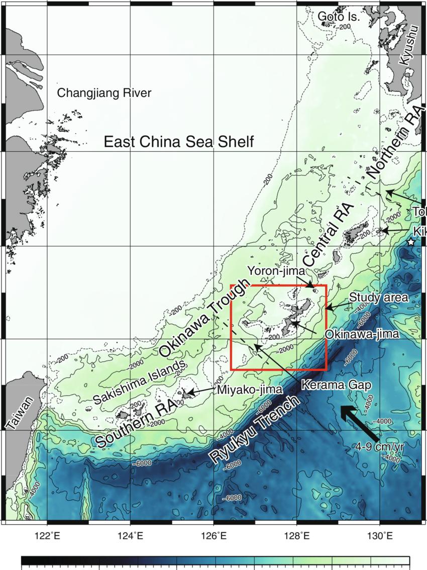 Submarine Map : submarine, Bathymetric, Ryukyu, Island, Submarine, Topographic, Relief..., Download, Scientific, Diagram