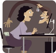 Online scammer reaching to steal money from woman's pocket, distracting her with a gift or a freebie, vector illustration