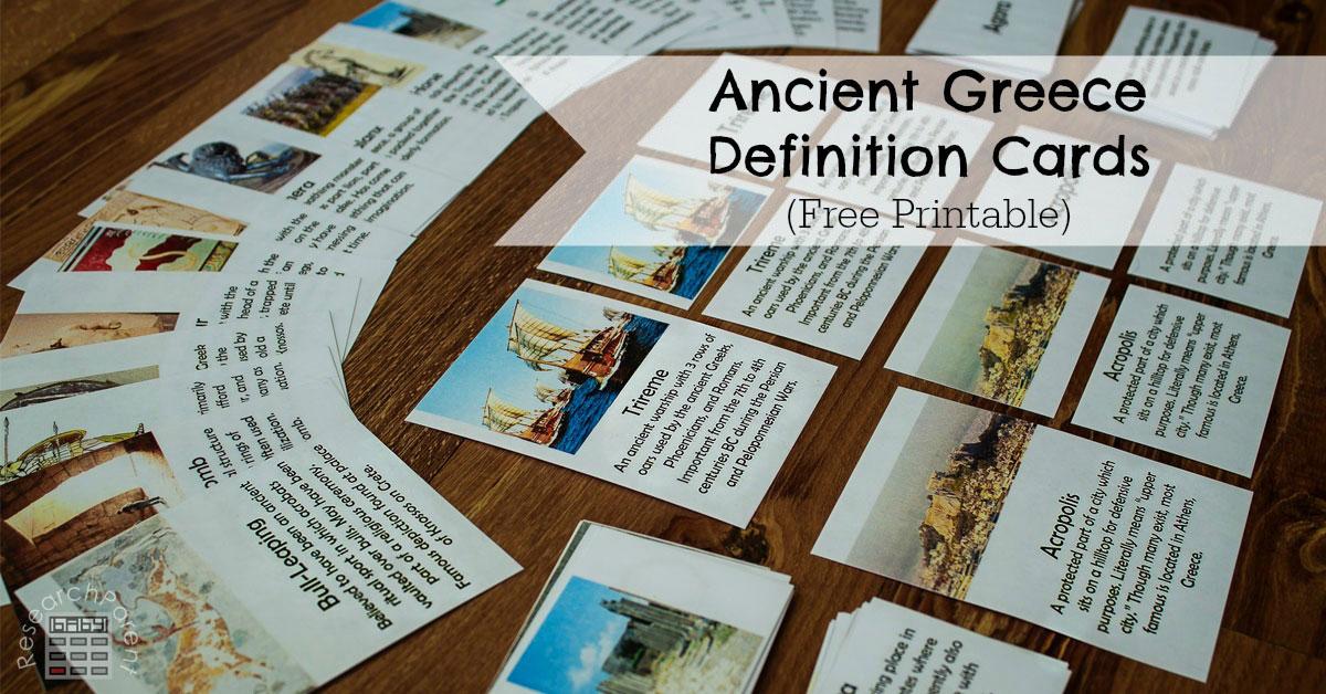 Ancient Greece Definition Cards  ResearchParentcom