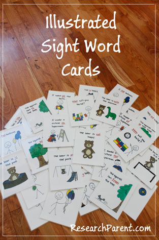 Illustrated Sight Word Cards  ResearchParentcom