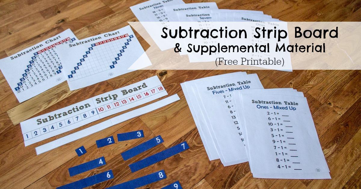 Subtraction Strip Board  ResearchParentcom