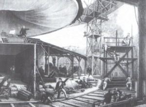 F.E.H. Philippoteaux (1815-1884) mentre supervisiona la produzione del suo Panorama of Champs-Elysée. Incisione da Le Monde illustré, 2 novembre 1872.
