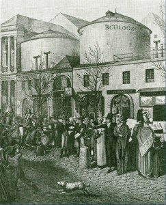 Le rotonde nel Boulevard Montmartre, Parigi 1802, da Germain Bapst, Essai sur les Dioramas et Panoramas, 1891.