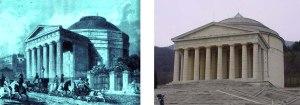 Il Colosseum di Decimus Burton, incisione da Londrees Modernes, Parigi 1862. Antonio Canoca (1757-1882), Tempio canoviano, Possagno. Terminato nel 1870, dopo la morte dello scultore, ne accoglie la tomba.