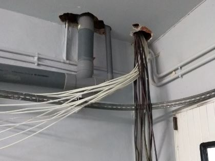 Arrivée des câbles RJ45 dans le garage