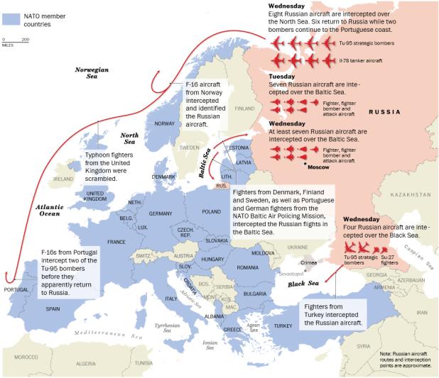 WP rusia NATO Les Russes ont testé la faiblesse aérienne des états membres de l'OTAN