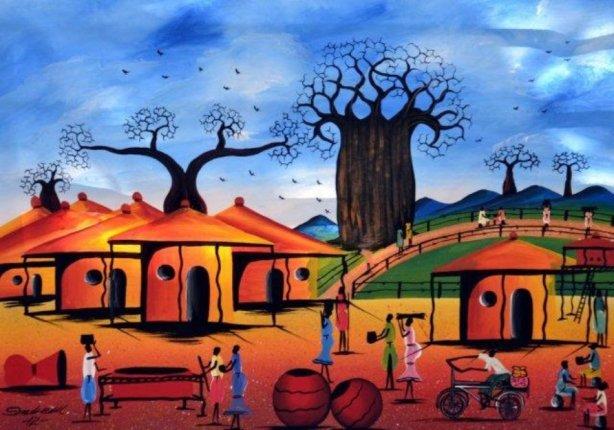 African-Village-Art-