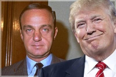 """Le """"Don"""", aujourd'hui, est celui qui fut alors son mentor et avocat, l'avocat de la mafia Roy Cohn  (Credit: AP/John Locher/Photo montage by Salon)"""