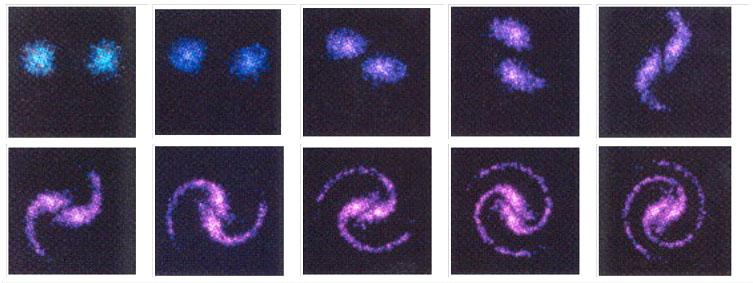 Formation d'une galaxie spirale dans l'entrelacement de deux courants de Birkeland. Anthony Peratt, Plasma Cosmology, 1992.