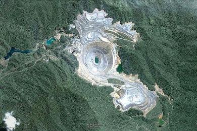 La mine de Skouries vue par satellite