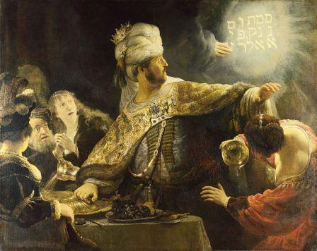 """Le Festin de Balthazar (Rembrandt) """"Compté, pesé et divisé en deux"""""""