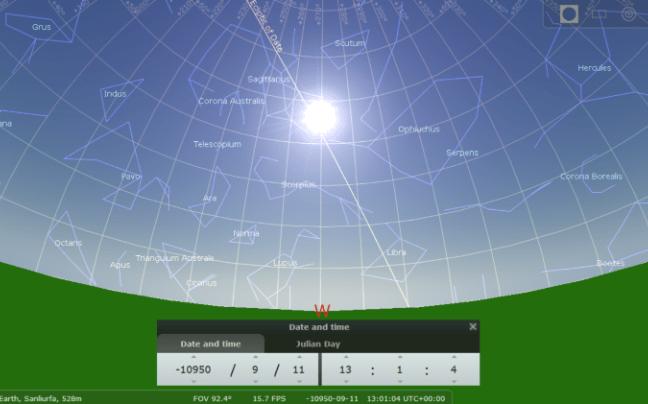 Position du Soleil et des étoiles au solstice d'été de 10 950 avant J-C. Crédit : Martin Sweatman et Stellarium.