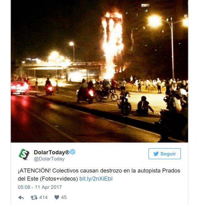 Attention ! Des collectifs (chavistes) provoquent des dégâts  dans la voie rapide Prados del Este - See more at: http://www.investigaction.net/le-departement-detat-usa-finance-les-fausses-informations-contre-le-venezuela/#sthash.hLtju3Ni.dpuf