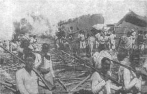 La ville éthiopienne de Dessie après le bombardement par des interventionnistes italiens, 1935
