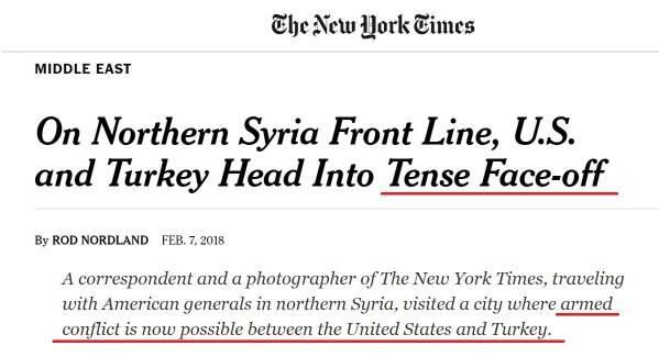 Sur la ligne de front du nord de la Syrie, Étasuniens et Turcs se dirigent vers une confrontation tendue Un correspondant et un photographe du New York Times ont accompagné les généraux en visite dans le nord de la Syrie, où un conflit armé est désormais possible entre États-Unis et Turquie.