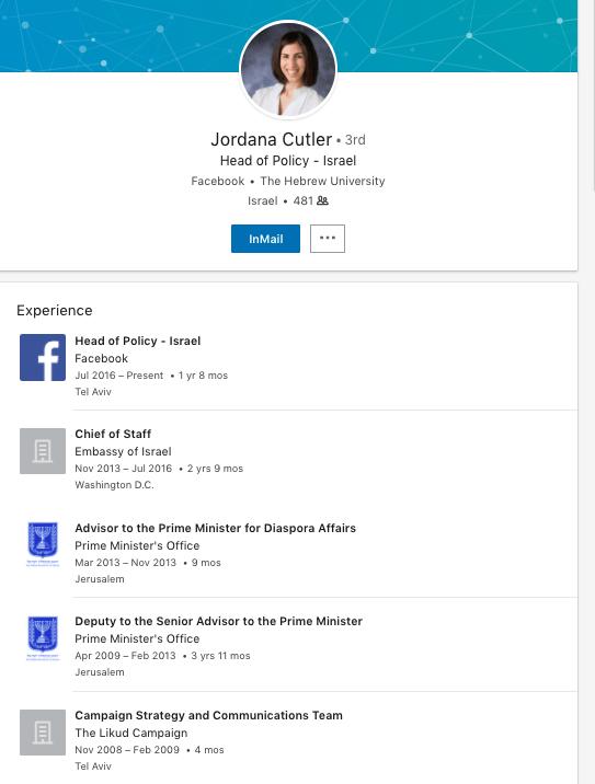 La page Linkedin pour Jordana Cutler de Facebook.