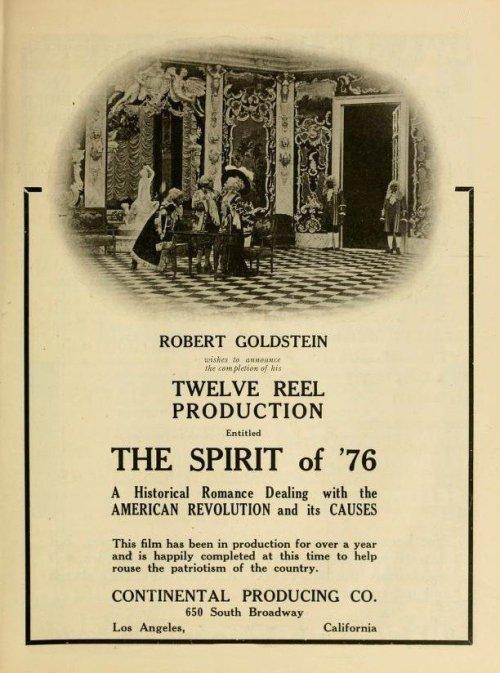 Une affiche publicitaire du film «L'esprit de 1776». © Public domain/Continental Producing Company