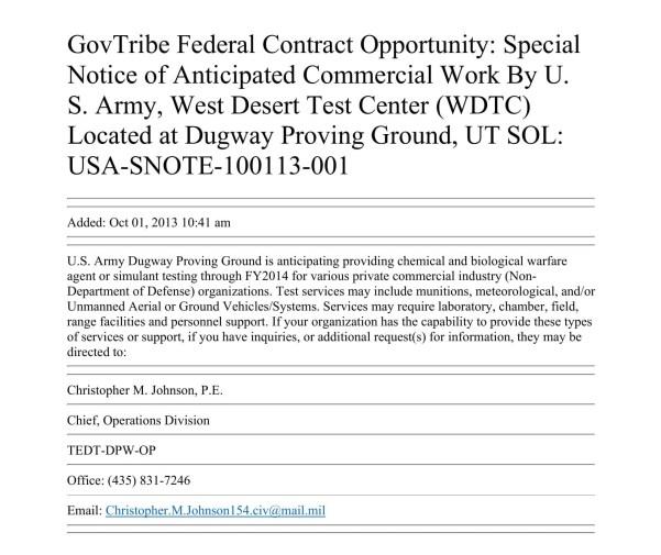 Une offre  de service commercial de  l'armée américaine – des essais sur le terrain avec des agents biologiques et des drones – consultable  sur un site Web des contrats fédéraux américains.