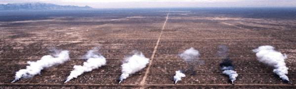 Dissémination sur la grille d'essai (© Dugway Proving Ground)