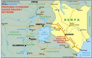 Le trajet du chemin de fer à voie normale au Kenya. Crédit carte : railwaypro.com