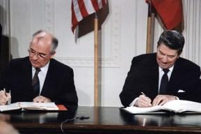 President Ronald Reagan and Mikhail Gorbachev.