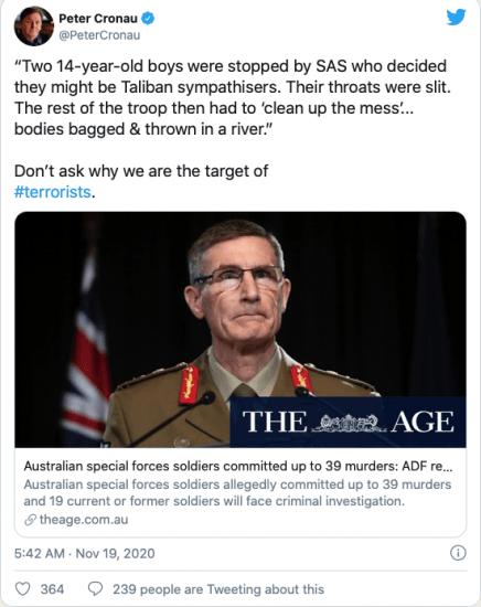 Crimes de guerre : L'Australie révèle les atrocités commises en Afghanistan, les États-Unis continuent d'ignorer les leurs
