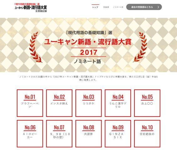ユーキャン新語・流行語大賞2017,ハンドスピナーなど30語ノミネート   リセマム