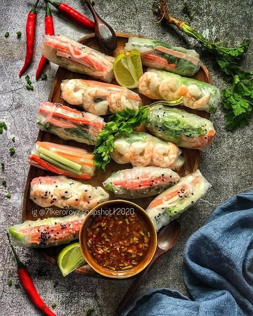 Resepi Vietnamese Salad Rolls Dengan Sos Ketumbar