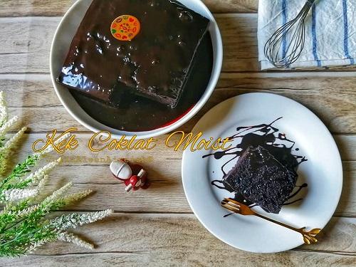 Kek Coklat Moist Kukus Dengan Coklat Ganache