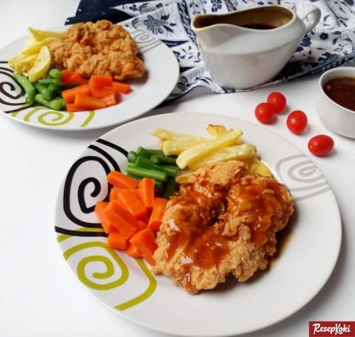 Gambar Hasil Membuat Resep Steak Ayam Brown Sauce ( Chicken Steak )