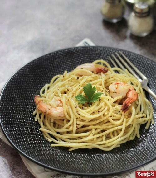 Gambar Hasil Membuat Resep Spaghetti Aglio Olio