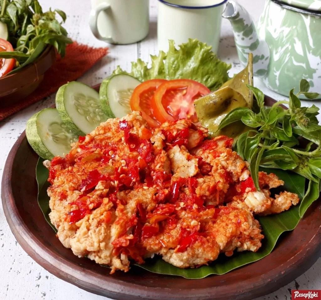 Gambar Ayam Geprek Plus Nasi