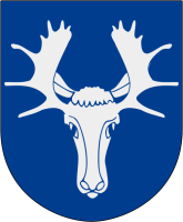 Östersund vapen: By Marmelad - Made by Marmelad after the blasoning..Head: From Image:Herb Polkozic.jpgAntlers: From Image:Åre vapen.svgThe source code of this SVG is valid.This vector image was created with Inkscape, and then manually altered., CC BY-SA 2.5, https://commons.wikimedia.org/w/index.php?curid=2913260