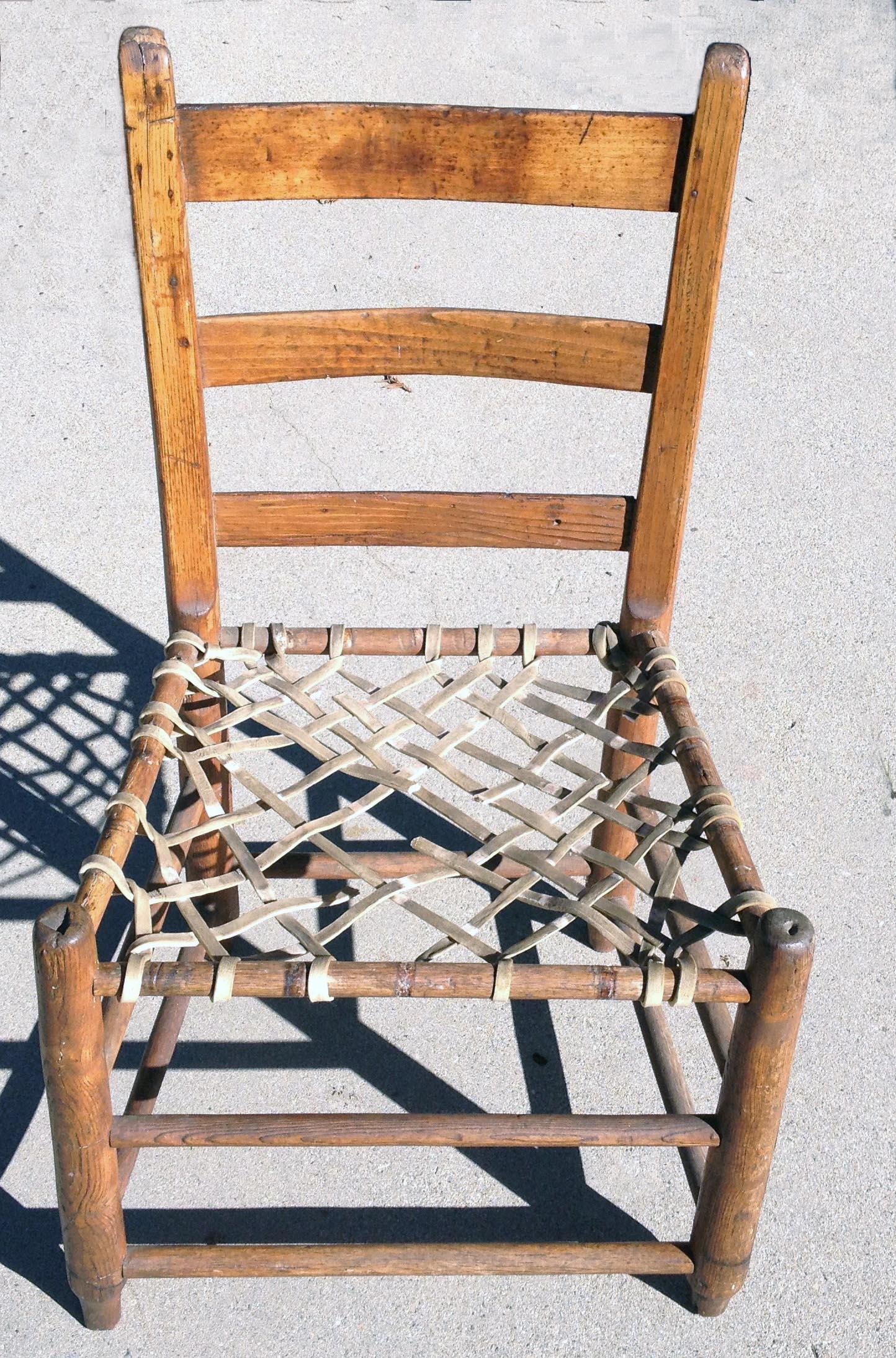 wicker ladder back chairs bruno stair lift weaving a rawhide strip seat  1860 1870 antique