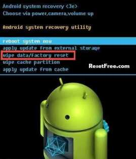 Android Wipe data and factory reset option