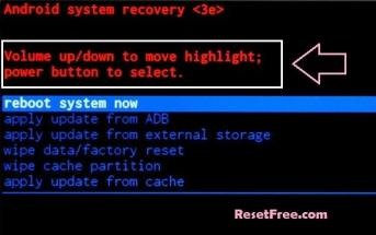 Recovery mode Menu on Android Mobile