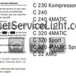 Reset service light indicator Mercedes C240