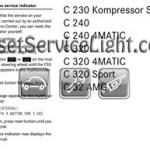 Reset service light indicator Mercedes C Class W203