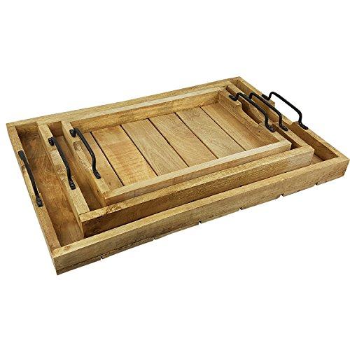 Serviertablett Holz rechteckig 3er Set Tablett mit