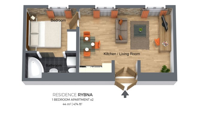 One Bedroom Apartment Type 2 Residence Rybna