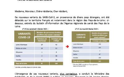 Courrier aux familles, alerte nouveaux variants SARS-Cov2