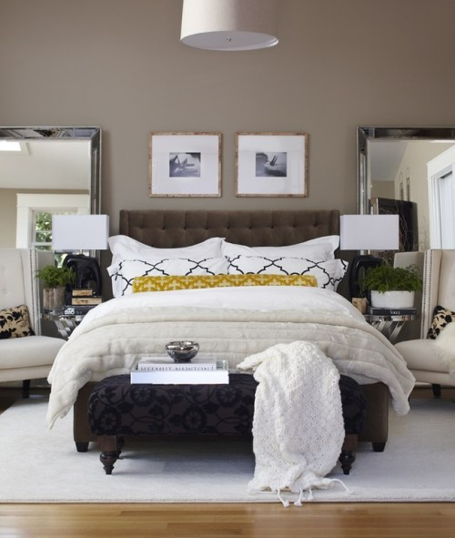 Oversized Floor Mirrors Bedside Table Bedroom Throw Blanket and Pillows Duvet Comforter Lamp Shade Table Lamps Upholstered Headboard