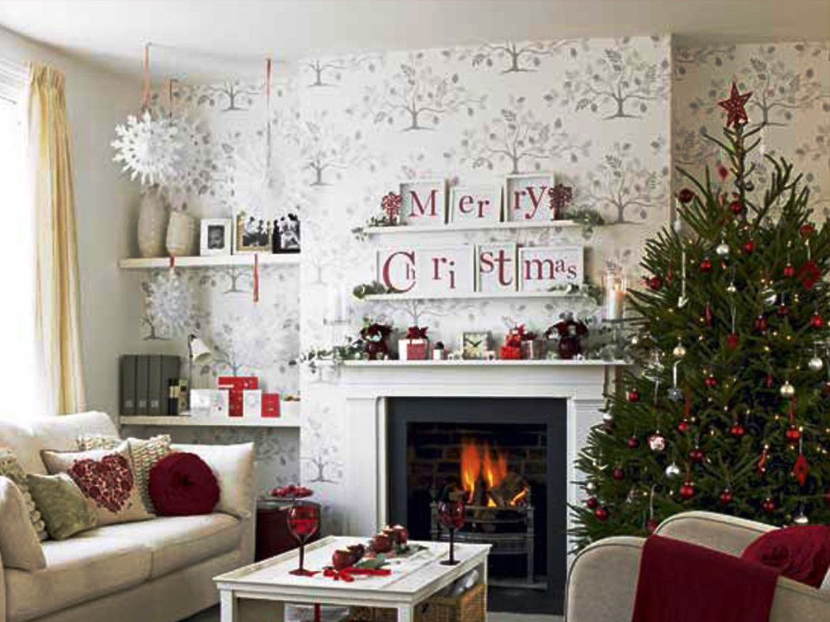 christmas decoration ideas for small living room modern end tables decorations pictures