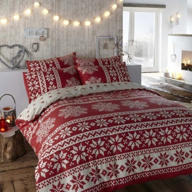 Red And White Christmas Bedroom Decoration
